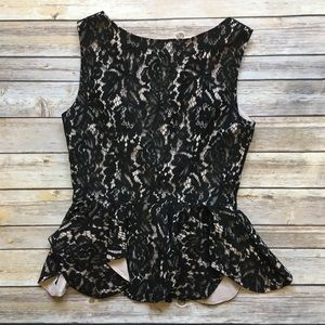 Lulu's Tops - Lulus • Black Lace Peplum Top